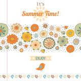 Summer set, flowers and labels, banner Royalty Free Stock Photos