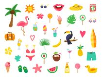 Summer set with hand drawn elements. Summer beach party design with doodle flamingo, flowers, tropical fruit, sweets. Color. Collection for cards, posters stock illustration