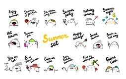 Summer set hand drawn illustrations with cute marshmallow vector illustration