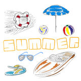 Summer set. Hand drawn lifebuoy, beach umbrella, volleyball, sunglasses, slippers, motor boat. EPS 10 vector illustration Royalty Free Stock Image