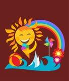 Summer set;  happy sun holding ice cream Royalty Free Stock Photo