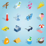 Summer set icons, isometric 3d style Royalty Free Stock Photography