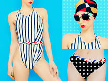 Summer Set. Marine style swimsuit Royalty Free Stock Photography