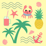 Summer set with palm, pineapple, crab Stock Image