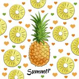 Summer set: pineapple, pineapple pieces, summer inscription, hearts vector illustration