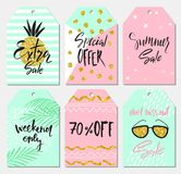 Summer set of sale and gift tags, labels with cute hand drawn design elements, handwritten lettering and textures. Vector illustra Stock Photography