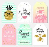 Summer set of sale and gift tags, labels with cute hand drawn design elements, handwritten lettering and textures. Vector illustra Royalty Free Stock Photos