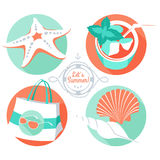 Summer set: starfish, shells, beach bag, sunglasses, tropical co Stock Photos