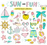 Summer set of sun and fun hand drawn elements. Summer set of sun and fun hand drawn elements such as boat,sun,drinks and fish,crab,palm for holiday,travel and Royalty Free Stock Image