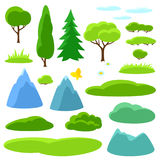 Summer set of trees, mountains and hills. Seasonal collection Stock Photography