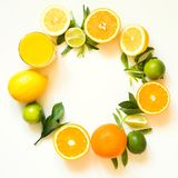 Summer set of tropical fruits, lemon, orange and green leaves on white. Banner. stock photo