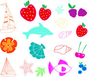 Summer Set vector. Summer fun time Set vector Illustration Stock Images