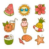 Summer set, Vector graphic elements. Character design, Graphic elements, Watermelon royalty free illustration