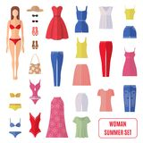 Summer set of women clothes icons in flat style. Stock Photography