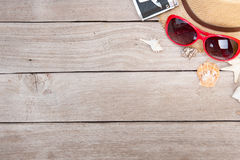 Summer setting with sea shells on old wooden stock photography