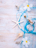 Summer setting up on wooden panel Royalty Free Stock Photo