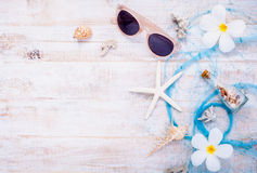 Summer setting up on wooden panel Royalty Free Stock Photography
