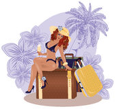 Summer sexual travel girl with wineglass. Vector illustration Stock Photo