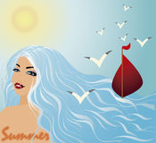 Summer sexy girl and scarlet sails Royalty Free Stock Images
