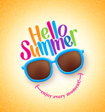 Summer Shades with Hello Summer Happy Colorful Concept Stock Images