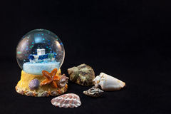 Summer ship globe and seashells Royalty Free Stock Photo