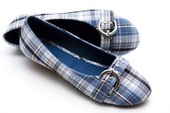 Summer shoes. Blue with fastener stock image