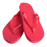 Summer shoes rubber flip flops red stock photography