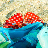 Summer shoes on sand Stock Image