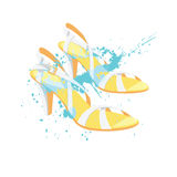Summer shoes with splash color. Vector illustration of summer shoes with splash color  on white background. White sandals with high heel for summer Stock Images