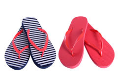 Summer shoes two pairs flip flops royalty free stock photography