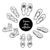 Summer shoes vector collection Royalty Free Stock Images