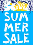 Summer shopping background. Summer sale lettering. Seasonal plac Stock Photos