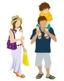 Summer Shopping family - Piggyback Stock Image