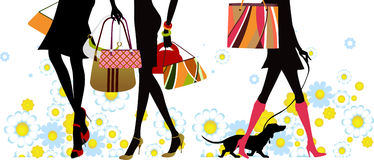 Summer, shopping girls Royalty Free Stock Image