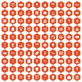100 summer shopping icons hexagon orange. 100 summer shopping icons set in orange hexagon isolated vector illustration Royalty Free Stock Photos
