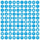 100 summer shopping icons set blue. 100 summer shopping icons set in blue hexagon isolated vector illustration Stock Photo