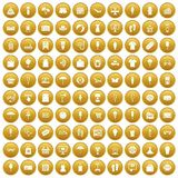 100 summer shopping icons set gold. 100 summer shopping icons set in gold circle isolated on white vectr illustration royalty free illustration