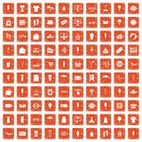 100 summer shopping icons set grunge orange. 100 summer shopping icons set in grunge style orange color isolated on white background vector illustration royalty free illustration