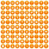 100 summer shopping icons set orange. 100 summer shopping icons set in orange circle isolated vector illustration vector illustration