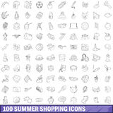 100 summer shopping icons set, outline style. 100 summer shopping icons set in outline style for any design vector illustration Royalty Free Stock Image