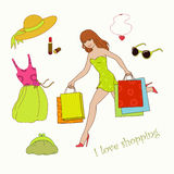 Summer shopping. Merry summer shopping and new goods Royalty Free Illustration