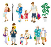 Summer Shopping people set -Multi generation Stock Images