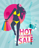 Summer shopping sale banner with fashion girl silh Stock Images