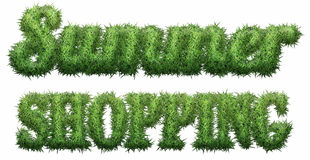 Summer Shopping text made of grass. Isolated on a black background. 3D illustration. Summer Shopping text made of grass. Isolated on a black background. 3D Stock Illustration