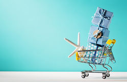 Summer shopping theme. With cart and starfish stock photography