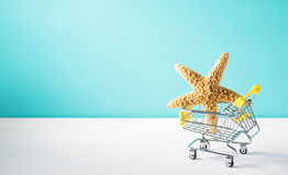 Summer shopping theme. With cart and starfish royalty free stock image