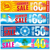 Summer shopping vector banners set. Hot price concept template. Banner template discount summer, illustration of summer season sale stock illustration