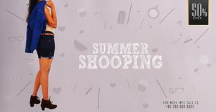 ` Summer Shopping` Young girl posing on summer shopping promotional banner templates. ` Summer Shopping` girl posing on summer shopping promotional banner royalty free stock image