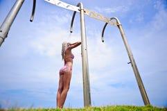Summer shower bikini girl Royalty Free Stock Photos