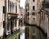 Summer sightseeing, Venice canals, Venice, Italy. In a gondola or just walking around the perfect scenery of the town of Venice royalty free stock photos